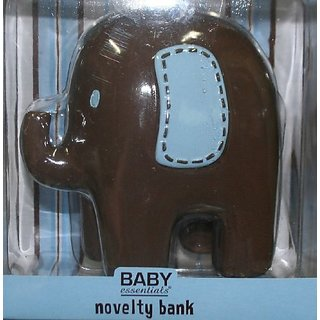 Baby Essentials Brown Blue Stitched Elephant Bank