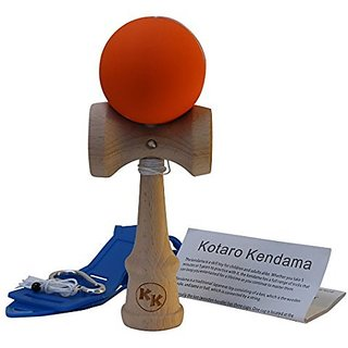 Kotaro Kendama Orange Tama Deluxe Pro Toy Catch Game with Extra String and Carrying Holster