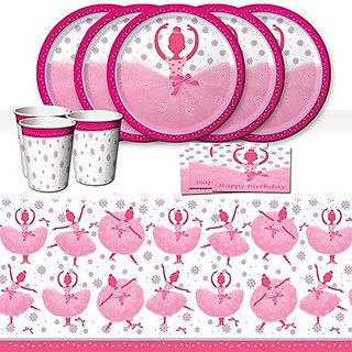 TuTu Much Fun Ballerina Ballet Childrens Birthday Party Tableware Pack For 16