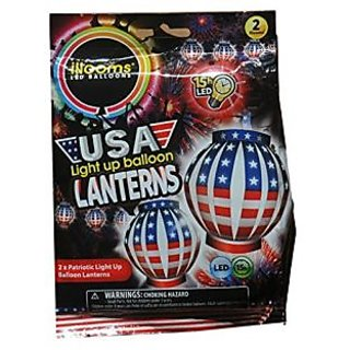 Illooms Patriotic USA Light Up LED Balloon Lanterns Stars and Stripes (Pack of 2)