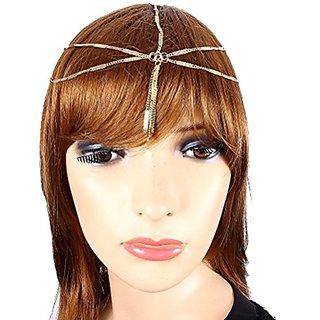 Goldtone Fringe Head Chain Headband (Style JH1021-GD)