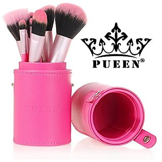 PUEEN Professional 12 Piece Makeup Brush Set in Vegan Leather Case Holder Synthetic Hair Bristles-BH000001