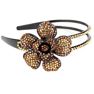 Rhinestone Flower Headband / Hairband (Taupe)