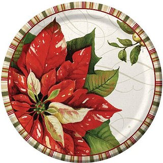 Christmas Poinsettia Banquet Plates (8ct)