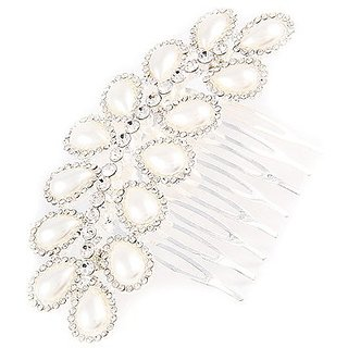 ACCESSORIESFOREVER Women Bridal Wedding Jewelry Crystal Pearl Double Linear Teardrop Hair Comb Pin Silver