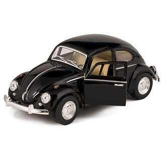 Black 1967 Classic Die Cast Volkwagen Beetle Toy with Pull Back Action