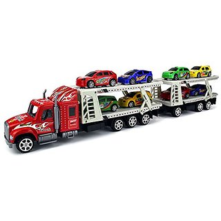 Superior Race Trailer 1:32 Childrens Kids Friction Toy Truck Ready To Run w- 8 Toy F1 Cars, No Batteries Required (Color