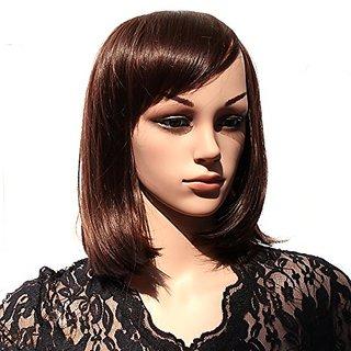 HSG new elegant lady dark brown short wigs fluffy straght oblique bangs wigs bob wigs JFG003