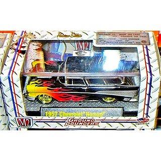 1957 Chevrolet Nomad (Black w- Flames) M2 Machines Ground Pounders Release 10 2012 Castline Premium Edition 1:64 Scale D