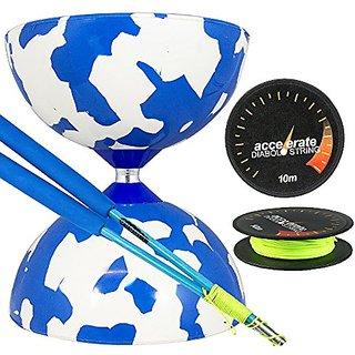Jester Medium Diabolo White-Blue with Blue Superglass Diabolo Sticks, & Accelerate Diabolo String