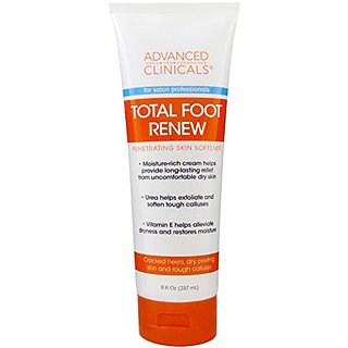 Advanced Clinicals Total Foot Renew Cream- Relief for Dry Itchy Skin, Tough Calluses, Cracked Heel. 8oz