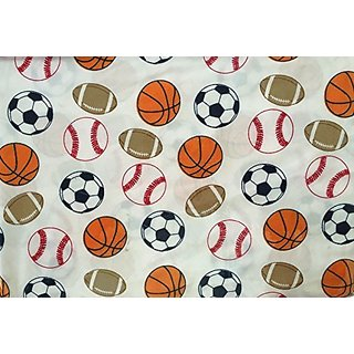 Standard Blues Sports Balls 4 Pc. Full Sheet Set Soccer Football Basketball Baseball Boys Sheets