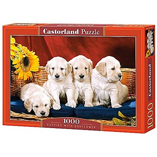 Puppies with Sunflower, 1000 Piece By Castorland Puzzles