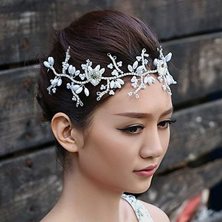 Nero Womens Handmade Elegant Bridal Wedding Hair Accessories with Pearls & Rehinestones Decorated