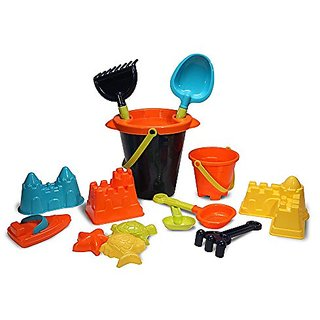 Kids Sand Toys Set for Building on Beach or in Sandbox: Buckets, Tools, Molds, Toy Boat- 15 pc.