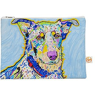 Kess InHouse Becca Everything Bag Flat Pouch by Rebecca Fischer, 8.5 x 6 Inches, Blue Rainbow (RF1015AEP01)