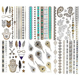 Temporary Metallic Gold, Silver & Color Shimmer Tattoos-6 Sheets