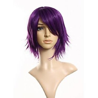 Ellena Womens/Ladies 25cm Purple Color short Cosplay/Costume/Anime/Party/Bangs Full Sexy Wig (25cm ,Purple)