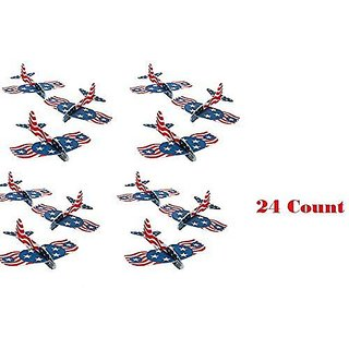 (2 Dozen) PATRIOTIC USA Foam Gliders ~ 24 Red White & Blue Airplane Gliders ~ 6 1 2 Fun Birthday Party Favors ~ Patrioti