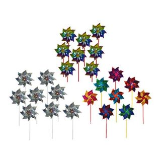 Maven Gifts: In the Breeze Pinwheel Bundle - 8 Silver Sparkle Mylar Pinwheel Spinners, 8 Rainbow Whirl Mylar Pinwheel Sp