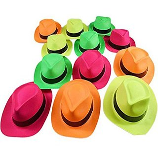 Adorox (Assorted 12 Hats) Neon Color Plastic Gangster Hats Fedora Party Favors