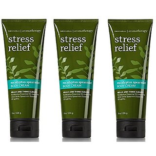 Lot of 3 Bath & Body Works Aromatherapy Eucalyptus Spearmint Stress Relief Body Cream (Eucalyptus Spearmint), 8 fl oz ea