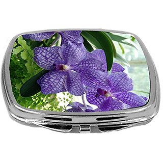 Rikki Knight Compact Mirror, Lavender Orchids, 3 Ounce