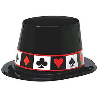 Amscan Casino Party Top Hat (1 Piece), Multi Color, 5.4 x 9.3