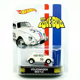 VOLKSWAGEN BEETLE HERBIE - THE LOVE BUG Hot Wheels 2013 Retro Series Die Cast Vehicle