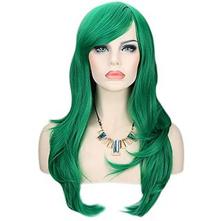 Kalyss Womens Green Color Long Straight Cospaly Party Full Hair Wigs