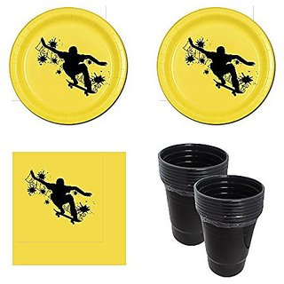 Extreme Skateboard Party Supplies - 16 guests - cake plates, napkins and extra large plastic cups