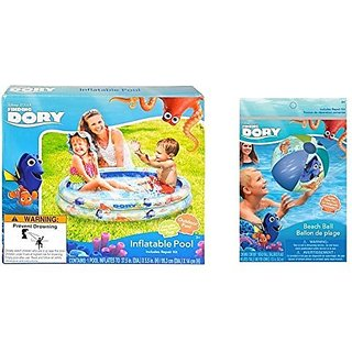Finding Dory Inflatable 2-Ring Swimming Pool and Beach Ball