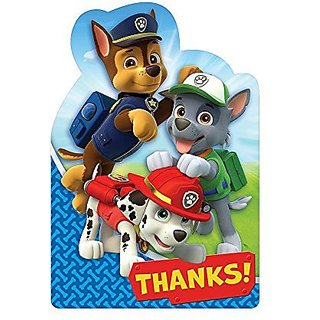 Amscan Amazing Paw Patrol Birthday Postcard Thank You Party Supplies (8 Piece), Blue Red, 6 1 4 x 4 1 4