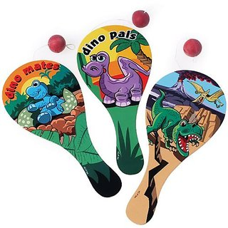 One Assorted Dinosaur Theme Wood Paddle Ball Game- 9