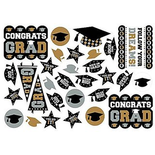 Amscan Grad Printed Cutout (30 Piece), Multicolor, 14.4
