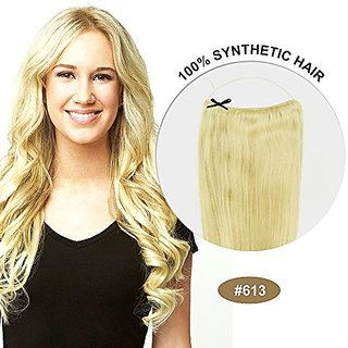COCO Secret Extensions Synthetic Hair Extensions Straight Bleach Blonde (16 Inches)
