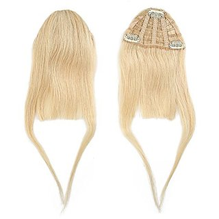 BEAUTY PLUS Clip on Bangs Real Human Hairpieces for Women (613# Blonde)