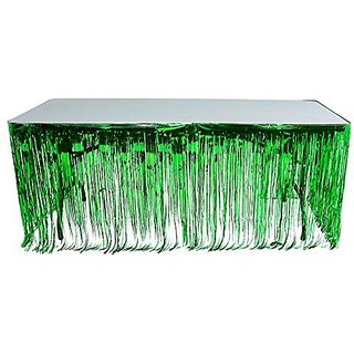 Green Metallic Foil Fringe Table Skirt 144