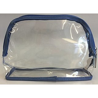 Bath and Body Works Clear with Blue Trim - Cosmetic, Toiletries, or Travel Bag (Pack of 10)