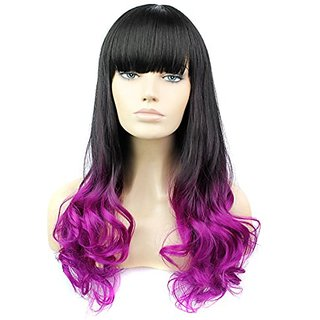 HSG Cosplay Disco Front Lace Black Long Hair Wigs for Women