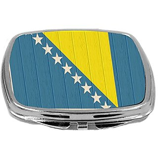 Rikki Knight Compact Mirror on Distressed Wood Design, Bosnia and Herzegovina Flag, 3 Ounce