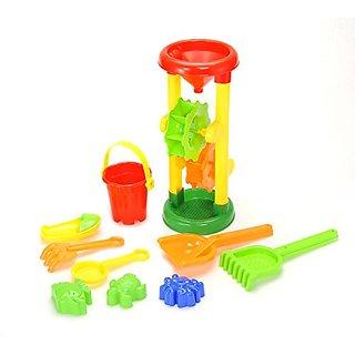 PowerTRC  Double Sand Wheel Beach Toy Set with Bucket, Shovels, Rakes, & 3 Shape Molds