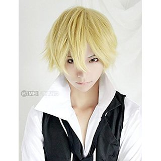 Rise World Wig Cool Mens Boys Short Straight Blonde Hair Party Heat Resistant Cosplay Wig