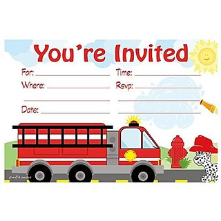 Firetruck Birthday Party Invitations - Fill In Style (20 Count) With Envelopes