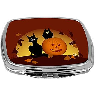 Rikki Knight Compact Mirror, Halloween Pumpkin and Black Cat, 3 Ounce