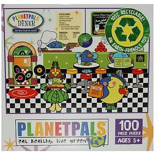 PlanetPals Eat Healthy Live Green DINER Recycled Puzzle 100 Pieces