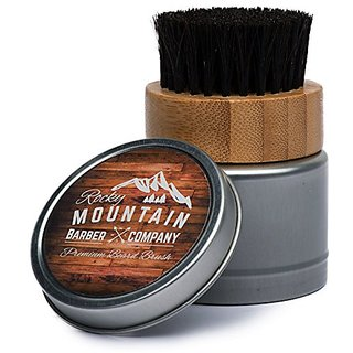 Beard Brush with Travel Case - 100% Horsehair Brush for Beard Oils, Beard Balms, Beard Wax, Dry Beard Oils - Soft Horse