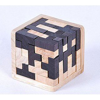 WISDOMTOY 3D Wooden Brain Teaser T-shaped Tetris Blocks Geometric Puzzle Educational Toy for Kids and Adults