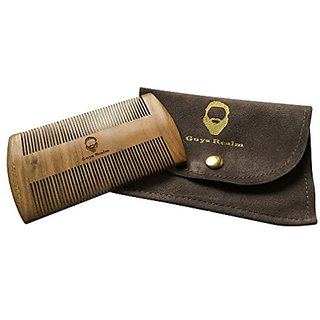 Premium Beard Comb & Case by Guys Realm - Handmade natural organic green sandalwood pocket comb for men - Mustache & Hai