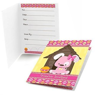Girl Puppy Dog - Fill-in Baby Shower or Birthday Party Invitations (8 count)